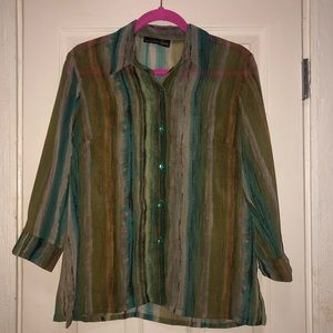 Tops - Sensual Green Stripped Blouse
